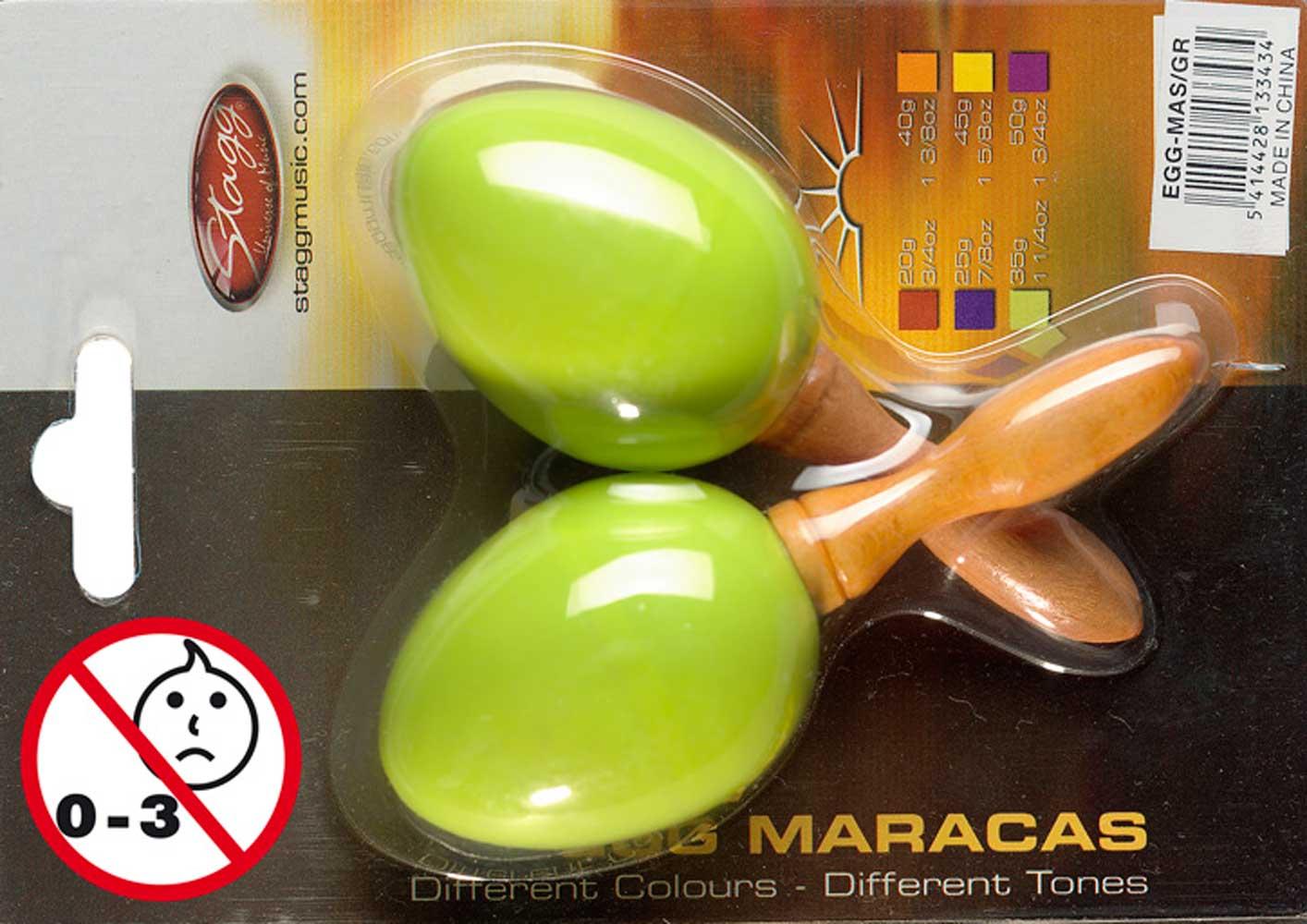 Stagg EGG-MA S//GR Maracas Paar Kunststoff eiförmig grün